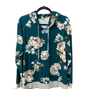 Lildy green floral hoodie size L XL NWOT
